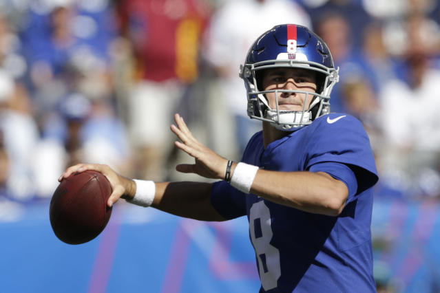 New York Giants quarterback Daniel Jones looks to pass during the second half of an NFL football game against the Washington Redskins, Sunday, Sept. 29, 2019, in East Rutherford, N.J. (AP Photo/Adam Hunger)