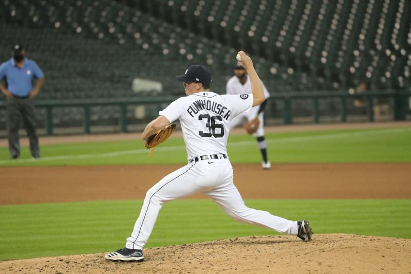 Detroit Tigers' Kyle Funkhouser (36) pitches against the Cleveland Indians during sixth inning at Comerica Park, Friday, August 14.