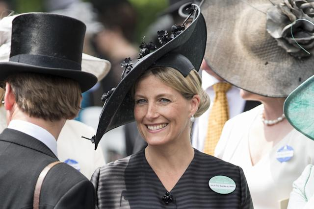 ASCOT, ENGLAND - JUNE 21: Sophie, Countess of Wessex attends Day 4 of Royal Ascot at Ascot Racecourse on June 21, 2013 in Ascot, England. (Photo by Mark Cuthbert/UK Press via Getty Images)