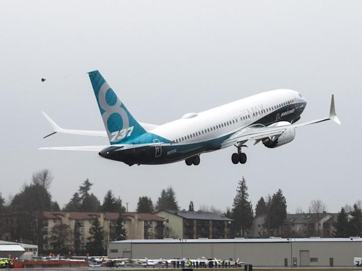 A Boeing 737 Max 8 taking off.