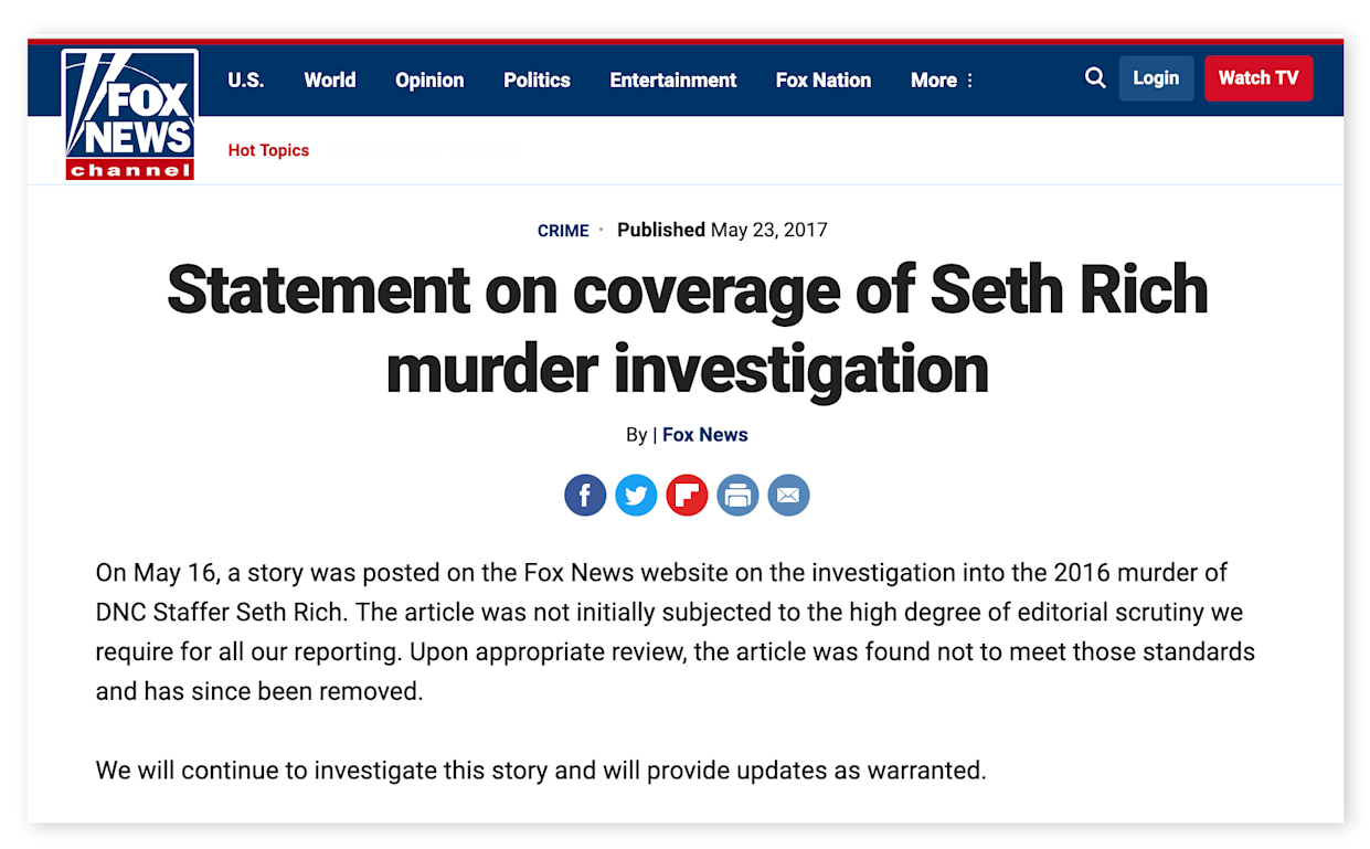 Screengrab of Fox News' retraction for its coverage of the death of Seth Rich.