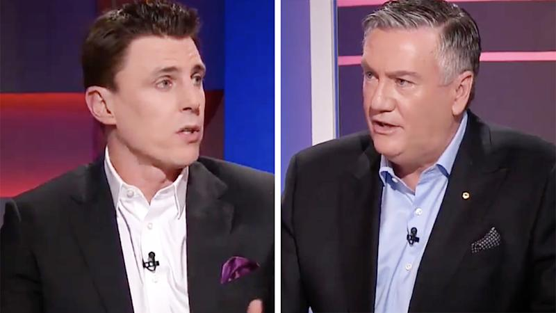 A 50-50 split image shows screenshots of Matthew Lloyd and Eddie McGuire during TV program Footy Classified.