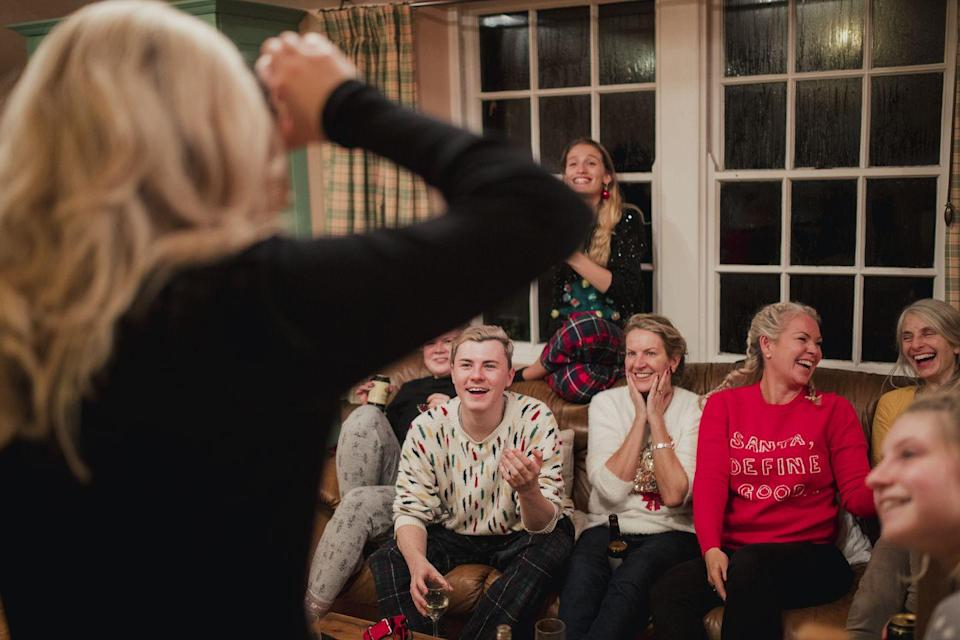 """<p>Get your friends together post-dinner for a good-old-fashioned game of charades, sure to bring on the giggles (and impress you with skills you never knew Nana had). Or, <a href=""""https://www.oprahmag.com/life/g28436280/games-to-play-with-friends/"""" rel=""""nofollow noopener"""" target=""""_blank"""" data-ylk=""""slk:try one of these games"""" class=""""link rapid-noclick-resp"""">try one of these games</a>.</p>"""