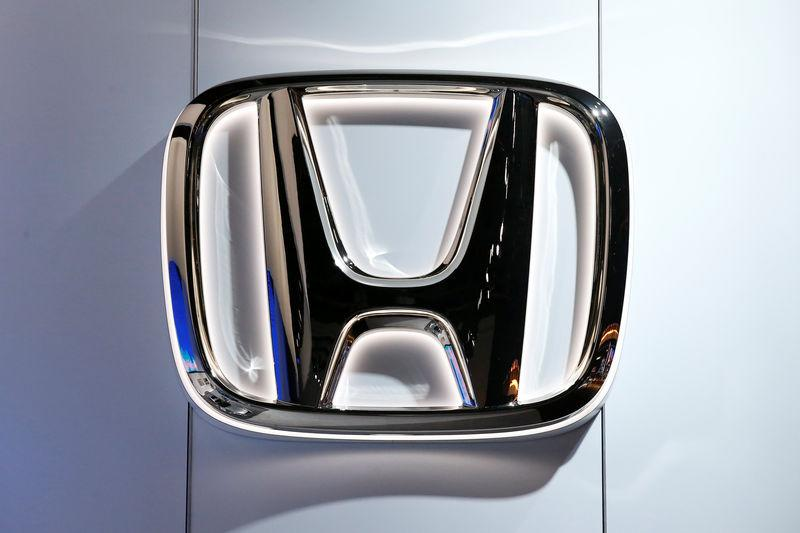The Honda logo is seen during the North American International Auto Show in Detroit