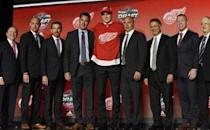 June 23, 2017; Chicago, IL, USA; Michael Rasmussen poses for photos after being selected as the number nine overall pick to the Detroit Red Wings in the first round of the 2017 NHL Draft at the United Center. Mandatory Credit: David Banks-USA TODAY Sports