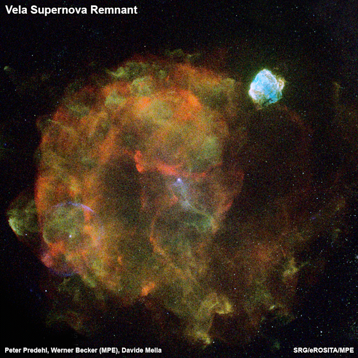 The Vela remains of the supernova is a mere 800 light years from Earth