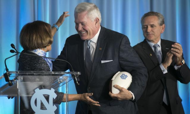 North Carolina coach Mack Brown scored a major win when four-star quarterback Sam Howell flipped to UNC from Florida State. (Robert Willett/The News & Observer via AP)