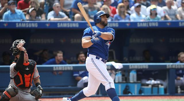 Kendrys Morales has entered his name into the Toronto Blue Jays' record book. (Photo by Tom Szczerbowski/Getty Images)