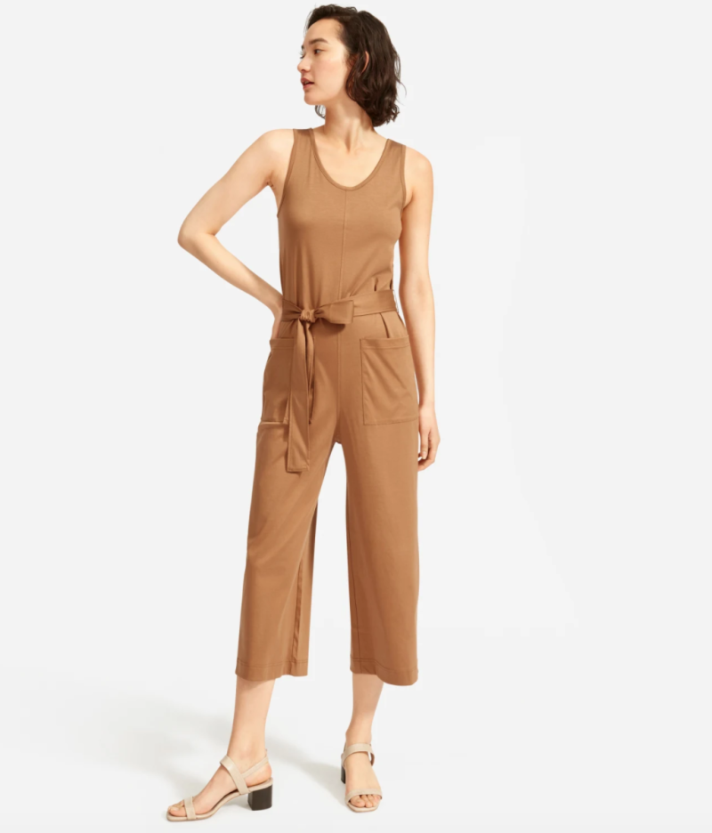 The Luxe Cotton Jumpsuit in Tan.
