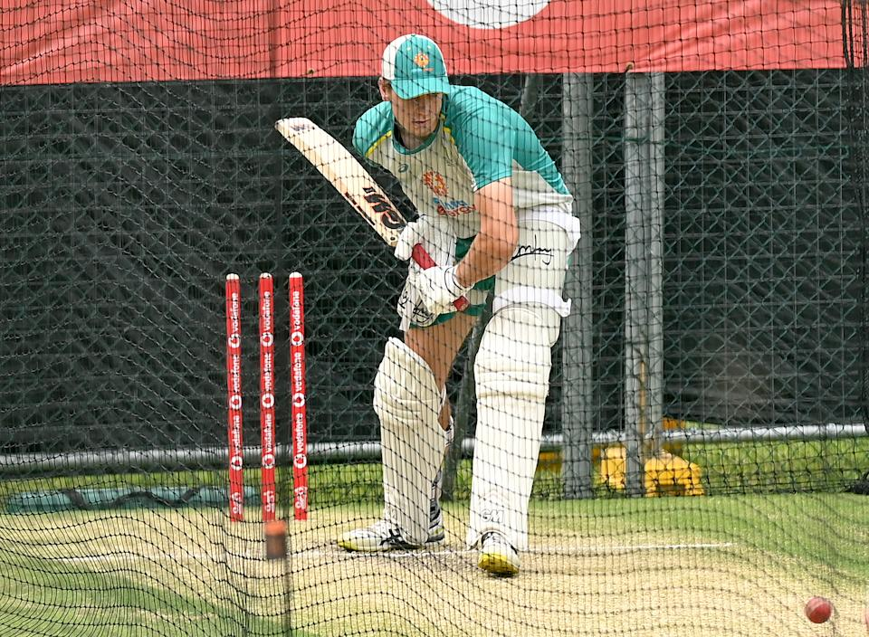Cameron Green bats during an Australian Nets session at The Gabba on January 14, 2021 in Brisbane, Australia. (Photo by Bradley Kanaris/Getty Images)
