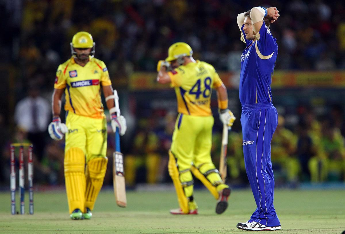 Shane Watson reacts after bowling  during match 61 of the Pepsi Indian Premier League ( IPL) 2013  between The Rajasthan Royals and the Chennai Super Kings held at the Sawai Mansingh Stadium in Jaipur on the 12th May 2013. (BCCI)