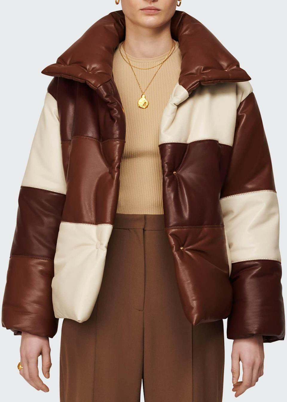 """<p><strong>Nanushka</strong></p><p>bergdorfgoodman.com</p><p><strong>$675.00</strong></p><p><a href=""""https://www.bergdorfgoodman.com/p/nanushka-hide-colorblock-puffer-coat-prod156760022"""" rel=""""nofollow noopener"""" target=""""_blank"""" data-ylk=""""slk:Shop Now"""" class=""""link rapid-noclick-resp"""">Shop Now</a></p><p>Looking for a new puffer in your life? Same. This colorblocked one is calling. </p>"""