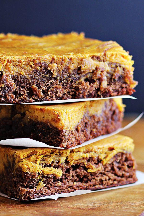 """<p>A mashup that's almost impossible to resist: creamy pumpkin cheesecake and fudgy chocolate brownies. </p><p><a href=""""https://homecookingmemories.com/pumpkin-cheesecake-brownies/"""" rel=""""nofollow noopener"""" target=""""_blank"""" data-ylk=""""slk:Get the recipe"""" class=""""link rapid-noclick-resp"""">Get the recipe</a>.</p>"""