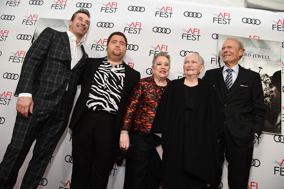 "HOLLYWOOD, CALIFORNIA - NOVEMBER 20: (L-R) Jon Hamm, Paul Walter Hauser, Kathy Bates, Barbara ""Bobi"" Jewell, and Clint Eastwood attends the ""Richard Jewell"" premiere during AFI FEST 2019 Presented By Audi at TCL Chinese Theatre on November 20, 2019 in Hollywood, California. (Photo by Michael Kovac/Getty Images for AFI)"