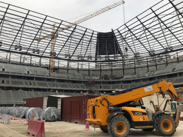 An inside image of the stadium amid construction work earlier this year. (Photo by Karim ABOU MERHI / AFP)