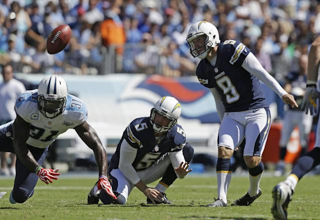 Tennessee Titans safety Bernard Pollard (31) blocks a 38-yard field goal attempt by San Diego Chargers kicker Nick Novak (9) in the second quarter of an NFL football game on Sunday, Sept. 22, 2013, in Nashville, Tenn. Holding is Mike Scifres (5). (AP Photo/Wade Payne)