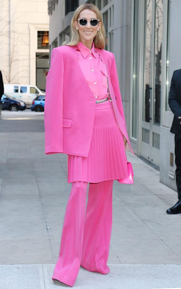 <p>Céline Dion stands out in head-to-toe pink in New York City on Saturday, wearing a skirt over a pair of pants.</p>