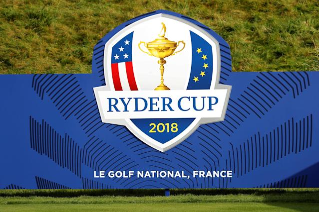 A logo is seen at France's Golf National where the Ryder Cup 2018 tournament will be held at Saint-Quentin-en-Yvelines, France, October 16, 2017. REUTERS/Charles Platiau