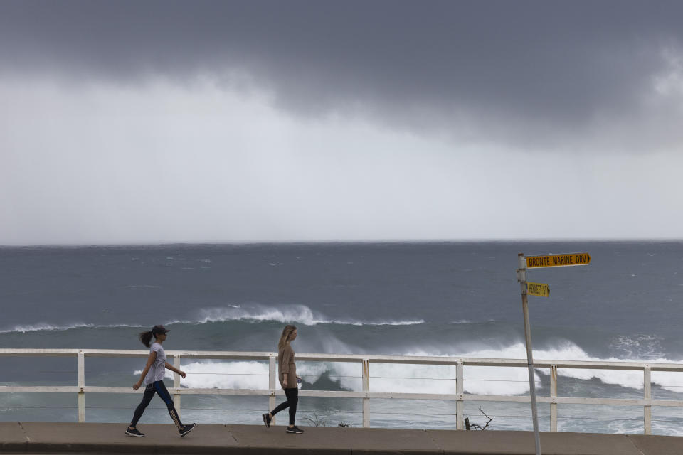 Heavy swell, wind and rain impact the Sydney coastline at Bronte.