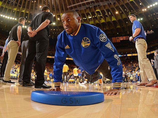 "<a class=""link rapid-noclick-resp"" href=""/nba/players/3826/"" data-ylk=""slk:Andre Iguodala"">Andre Iguodala</a> picks himself up from off the floor. (Getty Images)"