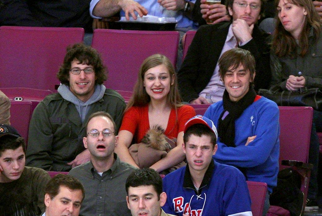 """""""Saturday Night Live"""" funnyman Andy Samberg and his friends take in a NY Islanders hockey game. James Devaney/<a href=""""http://www.wireimage.com"""" target=""""new"""">WireImage.com</a> - November 29, 2007"""