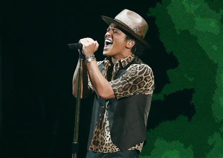 File of Bruno Mars performing during the 2013 MTV Video Music Awards in New York
