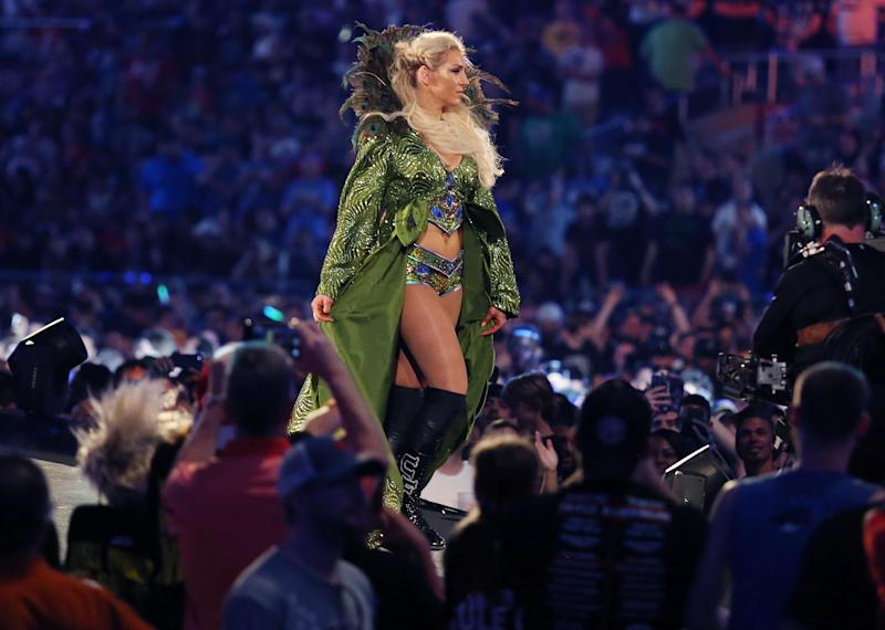 Charlotte Flair walks to the ring during WrestleMania 33 on Sunday, April 2, 2017 at Camping World Stadium in Orlando, Fla. (Stephen M. Dowell/Orlando Sentinel/Tribune News Service via Getty Images)