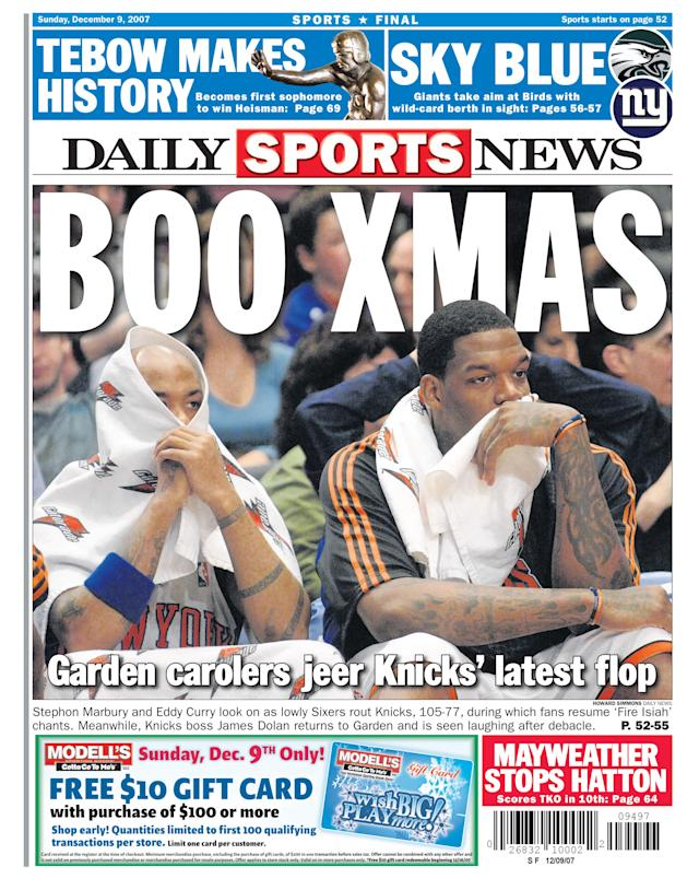 Some things never change. The Knicks have exactly one playoff series victory since the New York Daily News ran this headline on Christmas 2007. (NY Daily News via Getty Images)