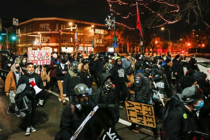 Protestors march after the New York grand jury voted not to indict officers in Prude's death