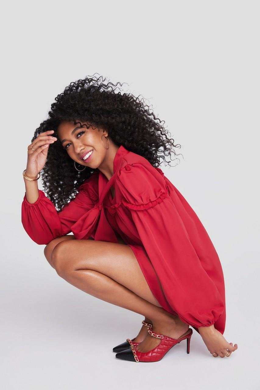 Aoki Lee Simmons poses in the campaign for her JustFab Reboot Collection. - Credit: Courtesy of JustFab