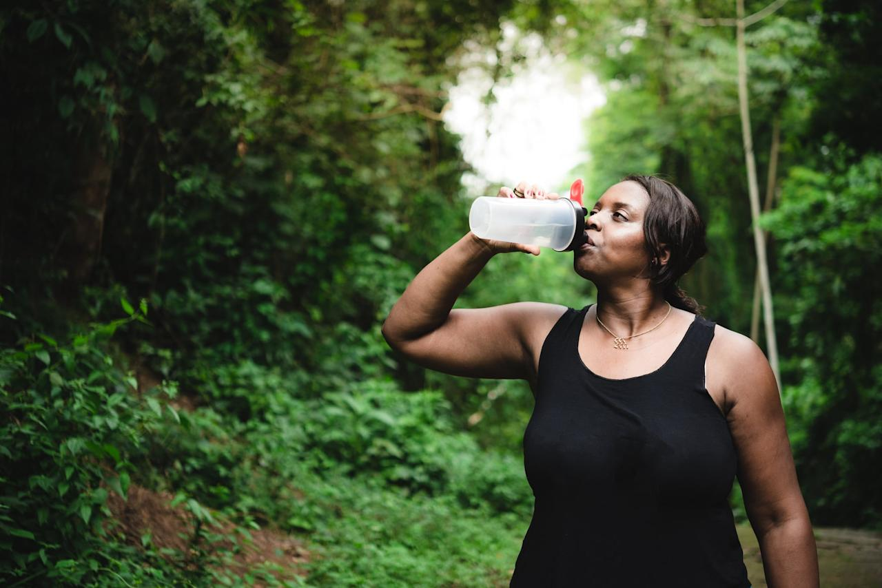 """<p>I don't drink a lot of water during my runs; I've found it can make me cramp up, lose my rhythm, or get that uncomfortable """"sloshy"""" sensation in my stomach. But a couple of hot, exhausting runs this past summer were enough to make me change my habits. <a href=""""https://www.popsugar.com/fitness/How-Much-Should-I-Hydrate-Before-Run-46280313"""" class=""""ga-track"""" data-ga-category=""""Related"""" data-ga-label=""""https://www.popsugar.com/fitness/How-Much-Should-I-Hydrate-Before-Run-46280313"""" data-ga-action=""""In-Line Links"""">Stopping for water on tough runs</a> gave me a quick break, some hydration, and a refresher to help me gut out those last few miles. It helps to plan a running route through a park or area with a couple of drinking fountains; you can also carry a small bottle for sipping when you need it. And if you plan to stop for water during a race, it's best to rehydrate during your training runs to help your body acclimate to the habit. (You and your stomach will thank us on race day.)</p>"""