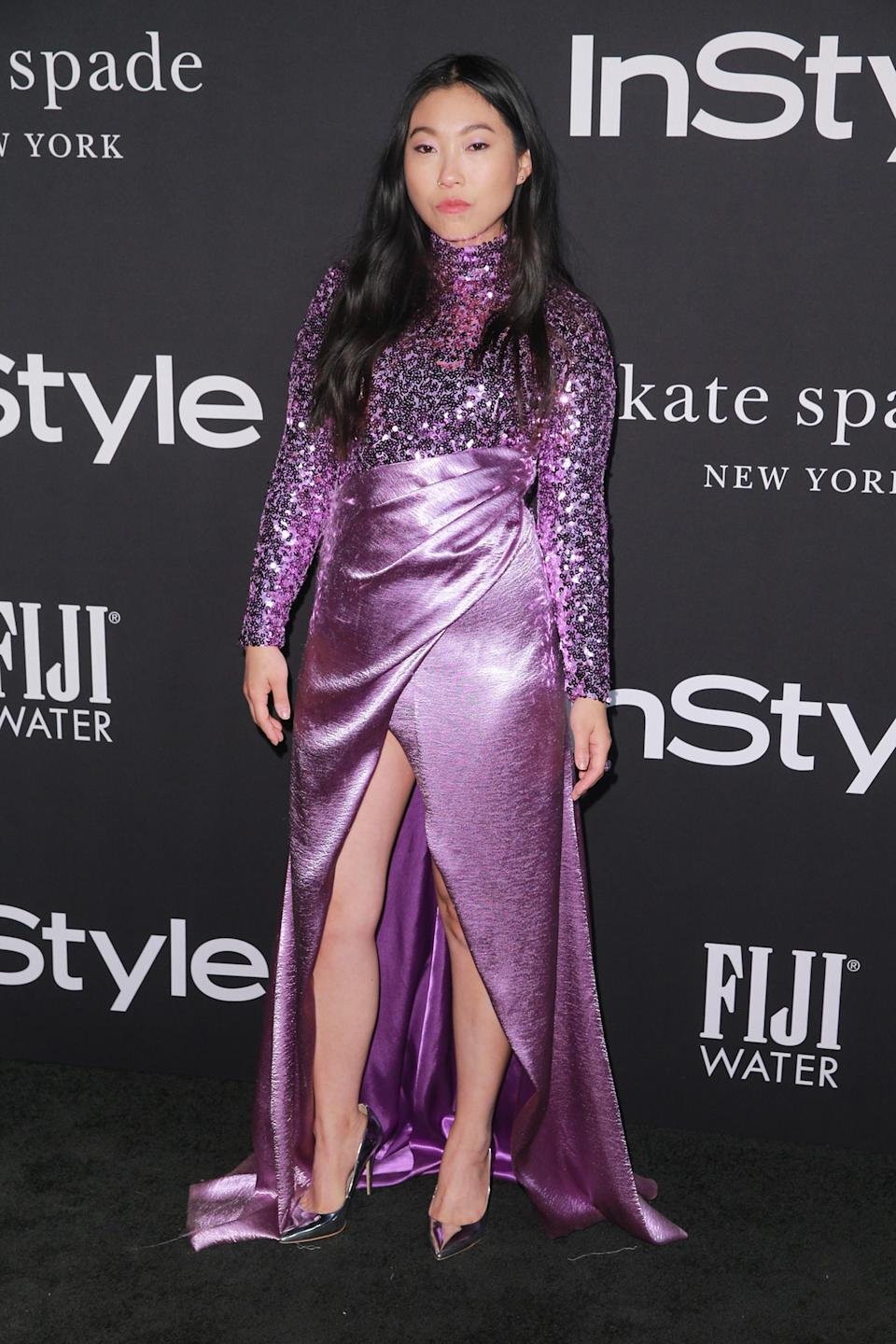 """<p>The """"Crazy Rich Asians"""" and """"Ocean's 8"""" star went full-glam in a sequined lilac ensemble by Rasario. </p>"""