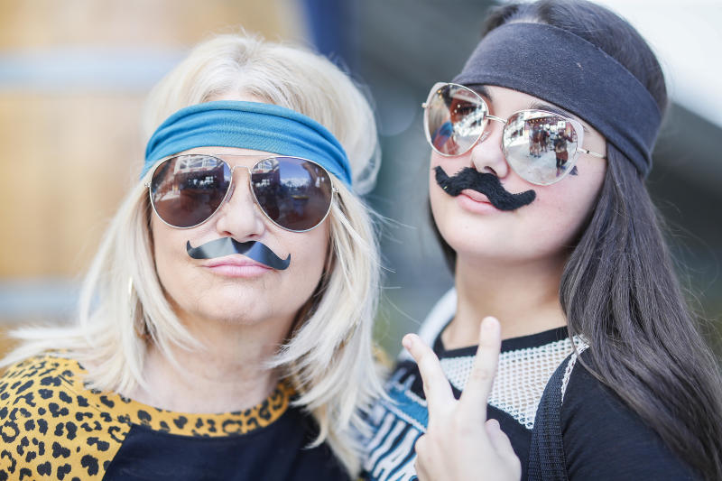 JACKSONVILLE, FLORIDA - OCTOBER 13: Jacksonville Jaguars fans dressed like Gardner Minshew enter the stadium before the start of a game against the New Orleans Saints at TIAA Bank Field on October 13, 2019 in Jacksonville, Florida. (Photo by James Gilbert/Getty Images)