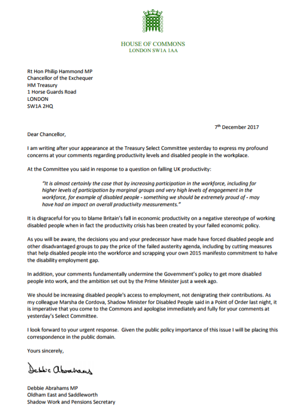 The full text of the letter from Debbie Abrahams (Debbie Abrahams)