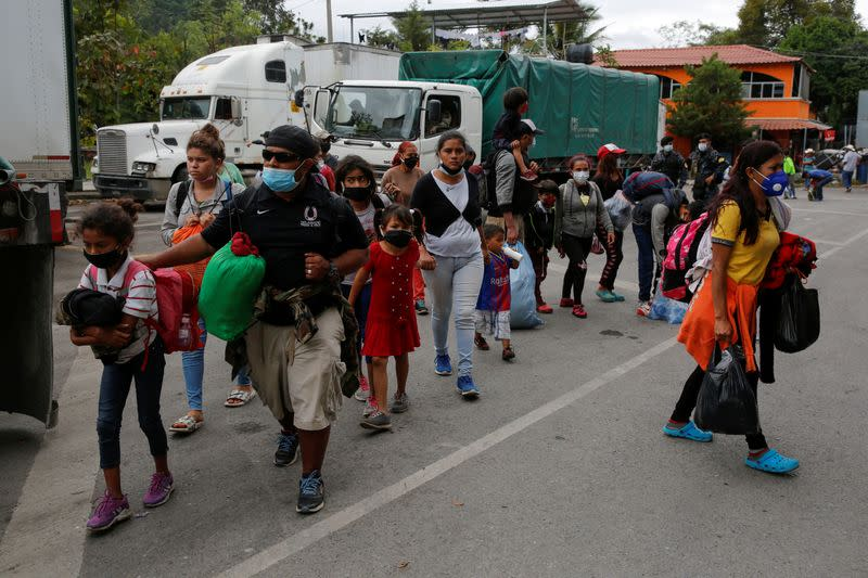 FILE PHOTO: Honduran migrants are sent back by Guatemalan authorities