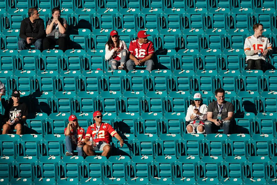 Fans are seen sporadically seated in their stadium seats prior to the start of Super Bowl LIV.