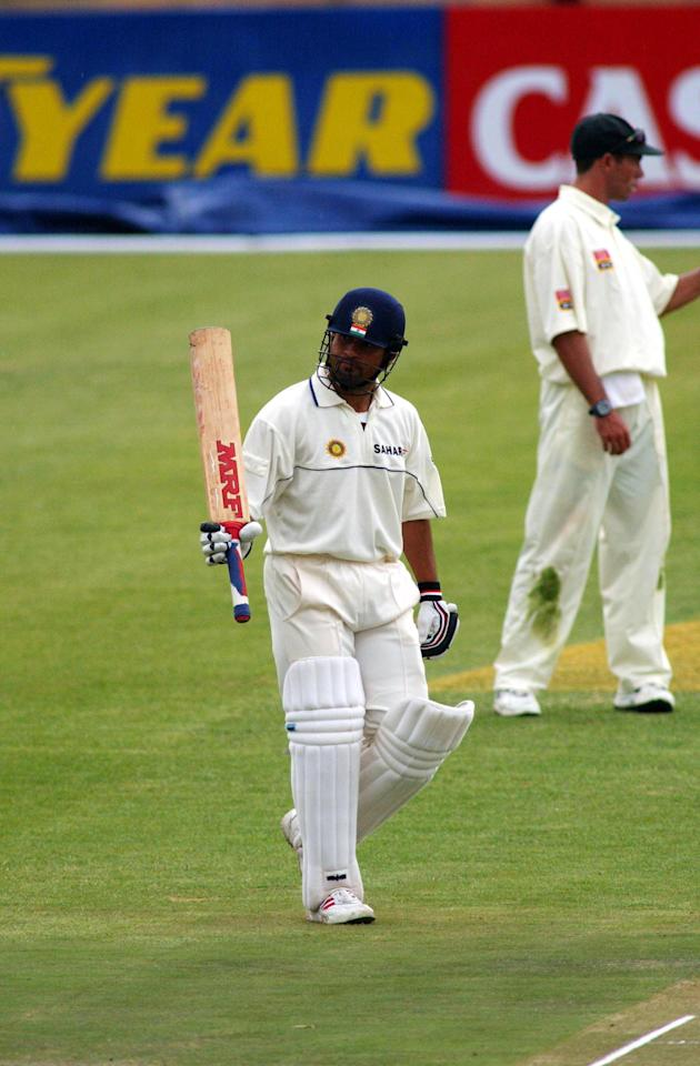 03 Nov 2001:  Sachin Tendulkar of India celebrates his 150 during the first test match between South Africa and India in Bloemfontein, South Africa.  DIGITAL IMAGE  Touchline Photo images are available to clients in the UK, USA and Australia only. Mandatory Credit: Touchline Photo/ALLSPORT