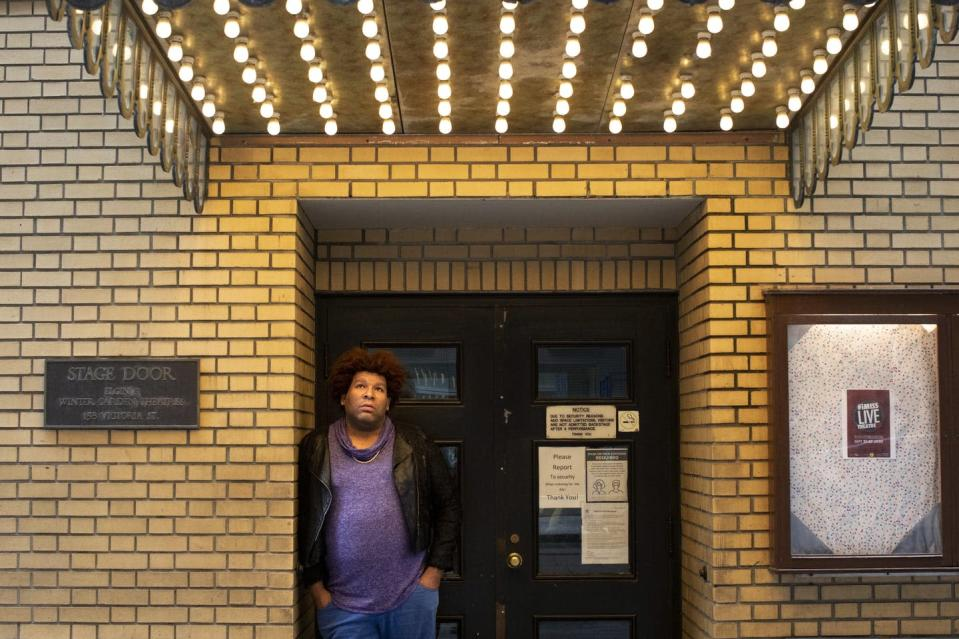 """<span class=""""caption"""">A Toronto actor and cabaret performer, a precarious employee, poses for a photo in April 2021 at the Elgin theatre.</span> <span class=""""attribution""""><span class=""""source"""">THE CANADIAN PRESS/Chris Young</span></span>"""