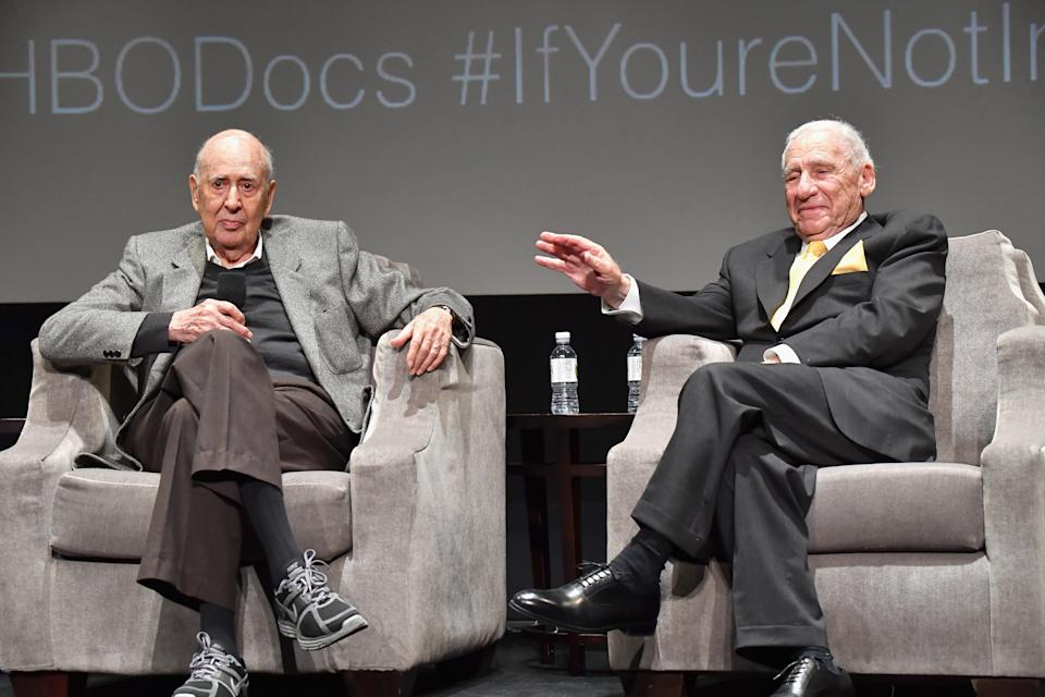 """BEVERLY HILLS, CA - MAY 17:  Carl Reiner and Mel Brooks speak onstage at the LA Premiere of """"If You're Not In The Obit, Eat Breakfast"""" from HBO Documentaries on May 17, 2017 in Beverly Hills, California.  (Photo by Jeff Kravitz/FilmMagic)"""