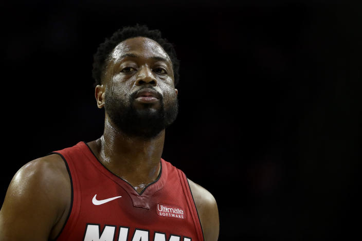 "<a class=""link rapid-noclick-resp"" href=""/nba/teams/miami/"" data-ylk=""slk:Miami Heat"">Miami Heat</a>'s Dwyane Wade in action during an NBA basketball game against the <a class=""link rapid-noclick-resp"" href=""/nba/teams/philadelphia/"" data-ylk=""slk:Philadelphia 76ers"">Philadelphia 76ers</a>, Thursday, Feb. 21, 2019, in Philadelphia. (AP Photo/Matt Slocum)"