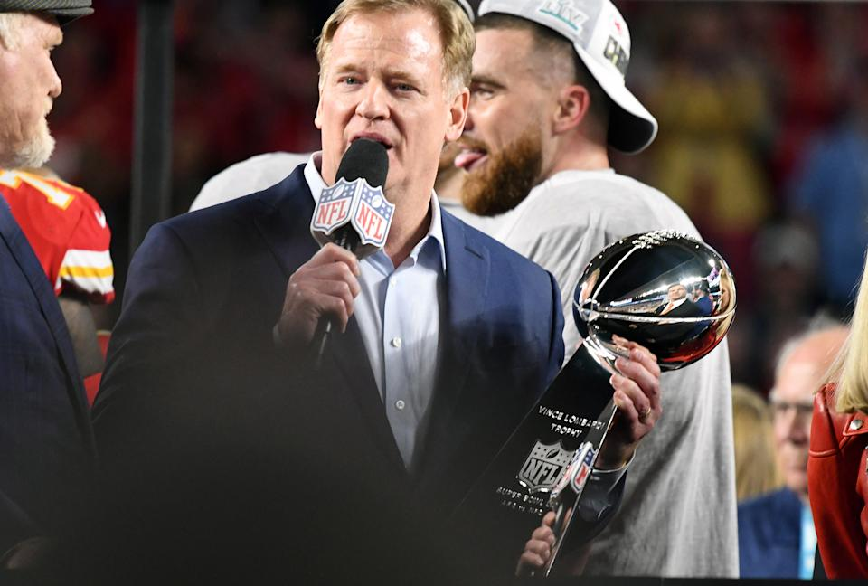 NFL commissioner Roger Goodell will preside over a virtual draft. (Photo by Focus on Sport/Getty Images)