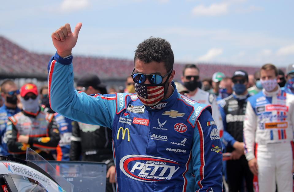 Bubba Wallace, is relieved that the noose wasn't targeted at him, but still believes it was a noose. (Photo by Chris Graythen/Getty Images)