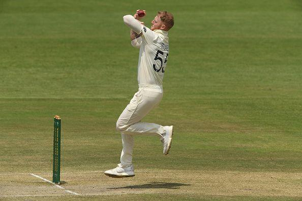 Ben Stokes with ball in hand