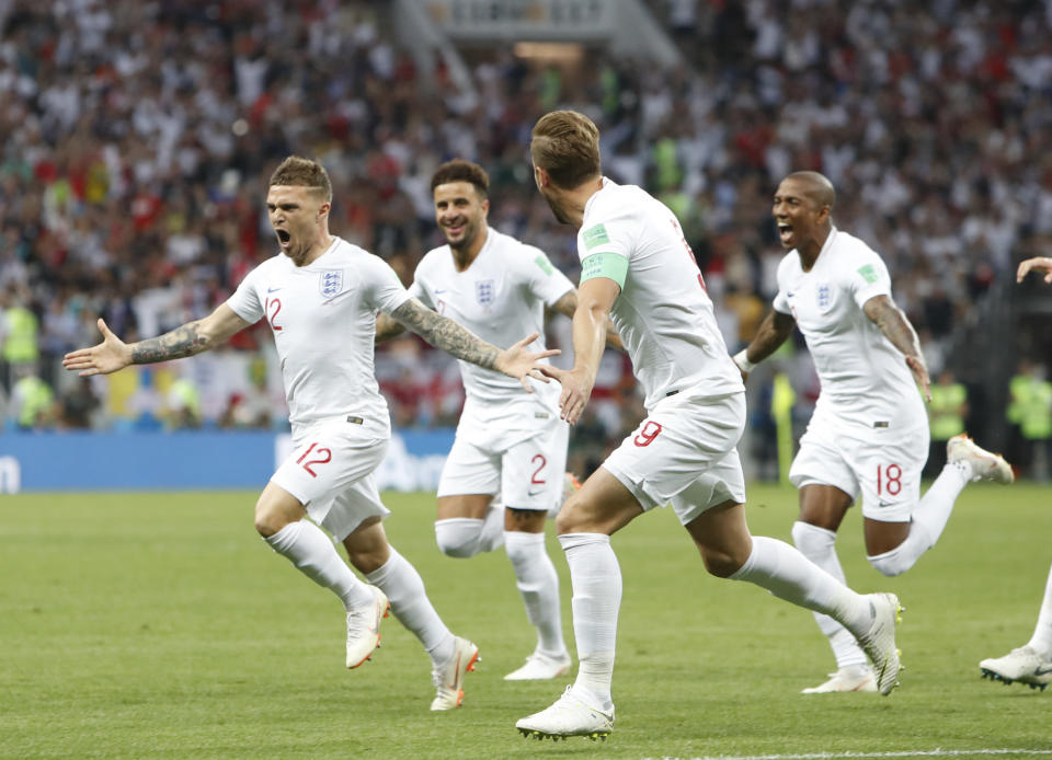 <p>What a time to score your first international goal! Trippier puts England 1-0 up </p>