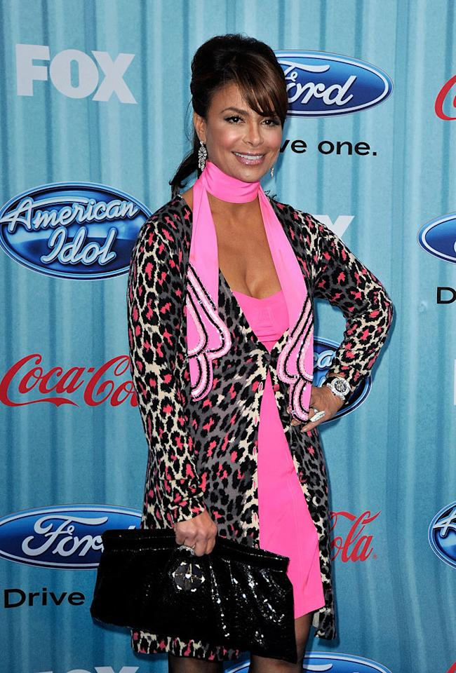"Judge <a href=""/paula-abdul/contributor/106554"">Paula Abdul</a> arrives at the <a href=""/american-idol/show/34934"">""American Idol""</a> Top 13 Party held at AREA nightclub on March 5, 2009 in Los Angeles, California."