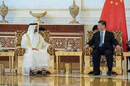 Abu Dhabi's Crown Prince Sheikh Mohammed bin Zayed al-Nahyan (L) meets with Chinese President Xi Jinping in Abu Dhabi, United Arab Emirates July 19, 2018. WAM/Handout via Reuters