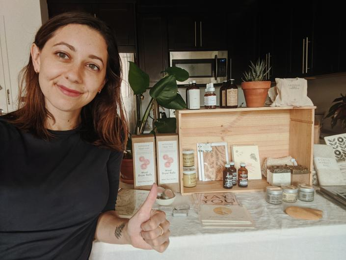 Kayli Kunkel at home with some of her products. (Courtesy of Kayli Kunkel)