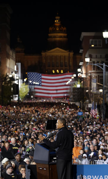 President Barack Obama speaks to supporters during his final 2012 campaign event in downtown Des Moines, Iowa, Monday, Nov. 5, 2012. (AP Photo/Pablo Martinez Monsivais)