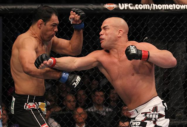 Tito Ortiz punches Antonio Rogerio Nogueira during the UFC 140 event at Air Canada Centre on December 10, 2011 in Toronto, Ontario, Canada. (Photo by Nick Laham/Zuffa LLC/Zuffa LLC via Getty Images)