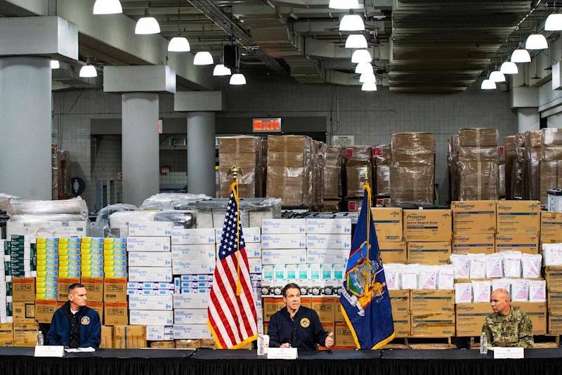 New York Governor Andrew Cuomo addresses the media at the Javits Convention Center in New York City.
